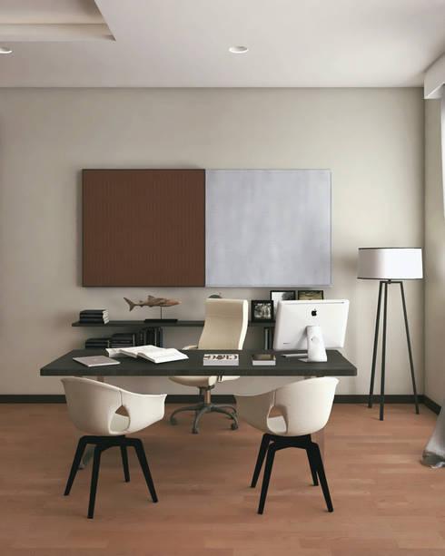 Estudio departamento ED: Estudios y oficinas de estilo  por A. C. Arquitectura y diseño