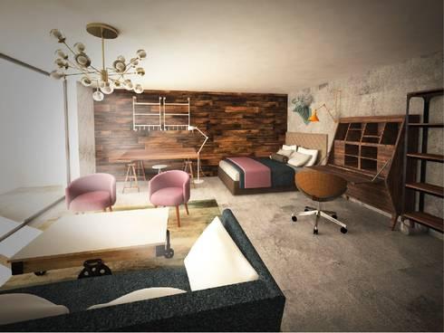 Loft en sótano:  de estilo  por Fernando Borda Arquitectura de Interiores