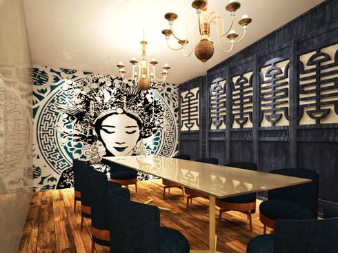 Salón privado:  de estilo  por Fernando Borda Arquitectura de Interiores