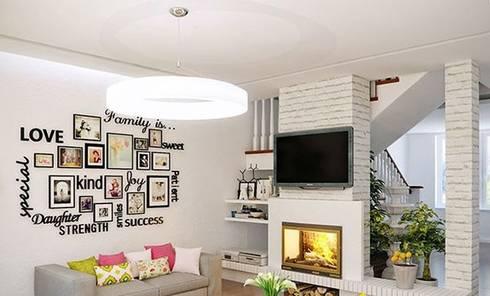 Phòng khách màu trắng đẹp:  Phòng khách by Thương hiệu Nội Thất Hoàn Mỹ