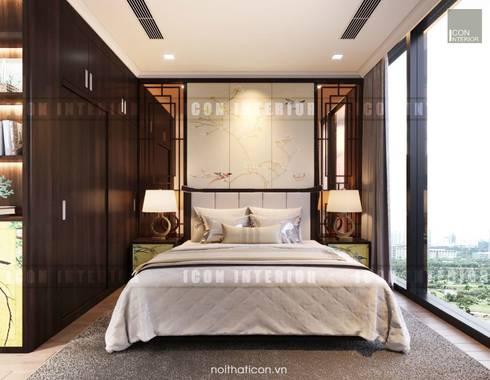 Cảm hứng Đông Dương trong thiết kế nội thất căn hộ Vinhomes Golden River:  Phòng ngủ by ICON INTERIOR
