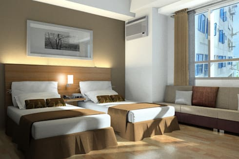 Twin Bedroom:  Hotels by AIM Architects