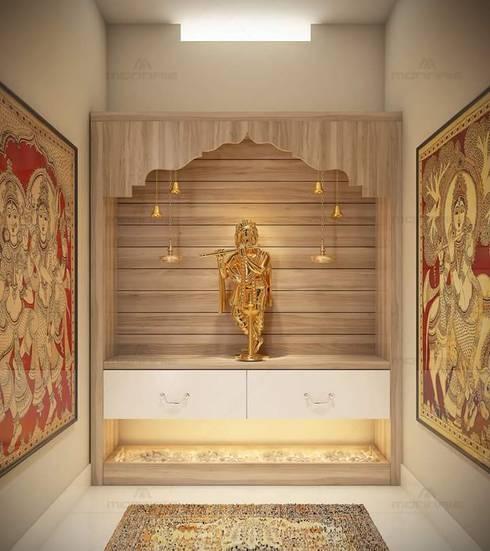 Pooja Room:  Living room by classicspaceinterior