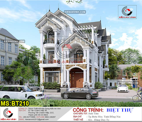 Mẫu biệt thự 3 tầng hiện đại đẹp cuốn hút người xem:  Nhà by Kiến An Vinh