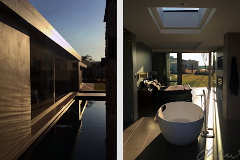 house on water: modern Bathroom by drew architects + interiors