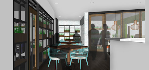 tropical Dining room by SAE Studio (PT. Shiva Ardhyanesha Estetika)