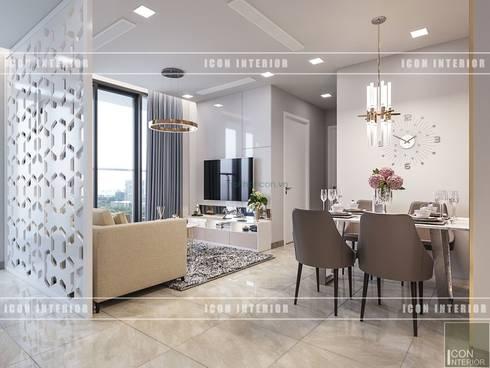 Thiết kế phong cách hiện đại thanh lịch với tông màu trắng:  Phòng ăn by ICON INTERIOR