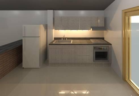 Cocina sencilla render 3D: Cocinas integrales de estilo  por Cosmoservicios SAS