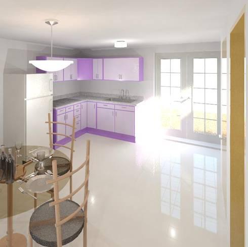 cocina colores render 3D: Cocinas integrales de estilo  por Cosmoservicios SAS
