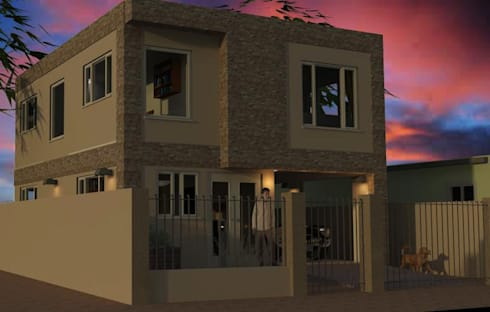 Fachada vivienda render 3D: Casas de estilo moderno por Cosmoservicios SAS