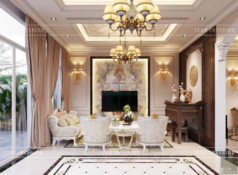 Thiết kế nội thất biệt thự phong cách tân cổ điển sang trọng:  Phòng khách by ICON INTERIOR