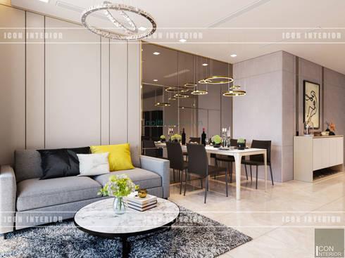 Thiết kế nội thất phong cách hiện đại thanh lịch và thân thiện:  Phòng khách by ICON INTERIOR