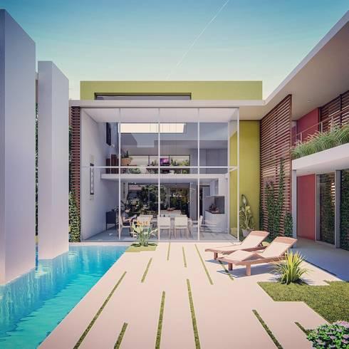 Interior patio space: modern Garden by Fernandez Architecture