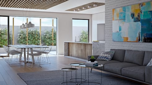 Living area: modern Living room by Cleo Architecture Studio