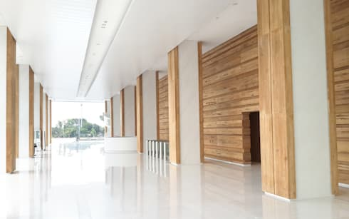 AD Premiere Office Tower Lobby: rustic Corridor, hallway & stairs by Jati and Teak