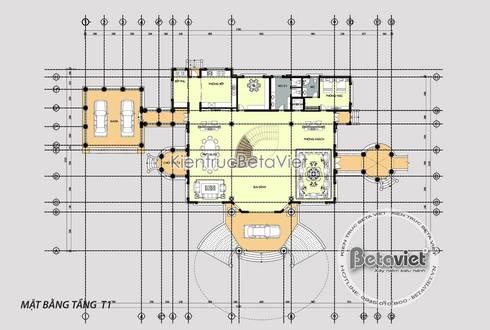 Mặt bằng tầng 1 mẫu thiết kế lâu đài dinh thự đẹp 3 tầng Tân cổ điển (CĐT: Ông Lượng - Hà Nội) KT16123:   by Công Ty CP Kiến Trúc và Xây Dựng Betaviet