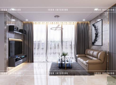 THIẾT KẾ CĂN HỘ VINHOMES NHẸ NHÀNG, TINH TẾ cùng ICON INTERIOR:  Phòng khách by ICON INTERIOR