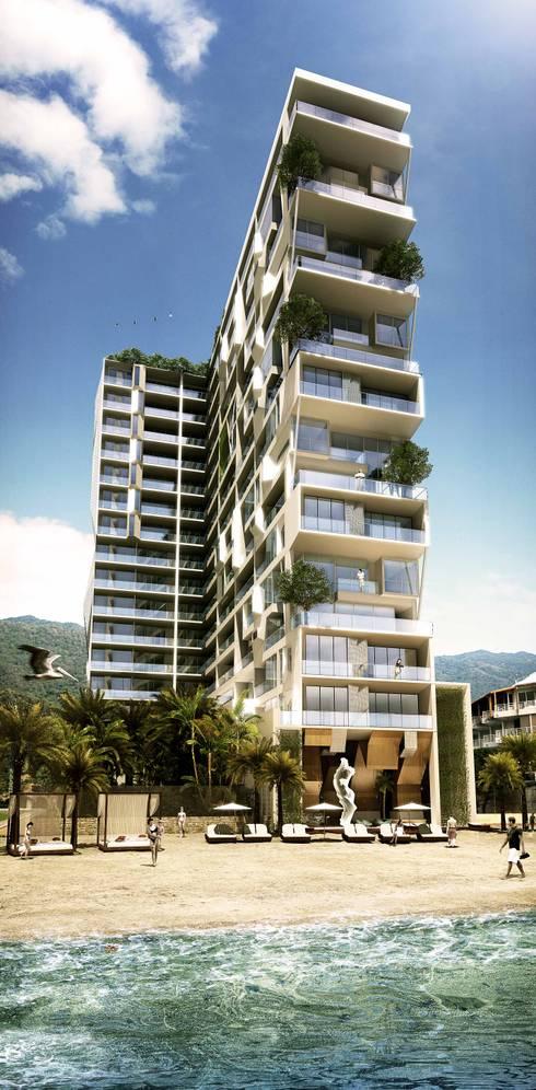 Edificio Piedra  Hincada-Fachada al mar:  de estilo  por RIVAL Arquitectos  S.A.S.