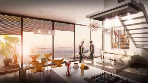 Edificio Piedra  Hincada-apartamento duplex:  de estilo  por RIVAL Arquitectos  S.A.S.