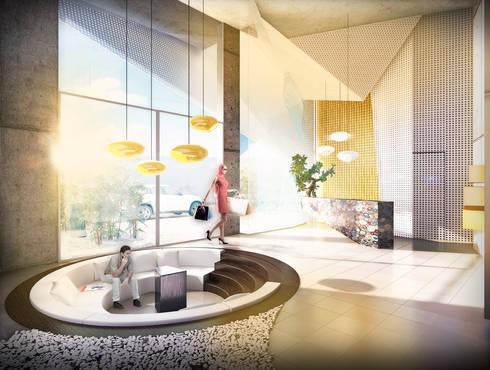Edificio Piedra  Hincada-Lobby-Recepción:  de estilo  por RIVAL Arquitectos  S.A.S.