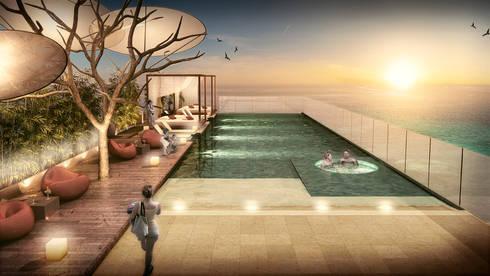 Edificio Piedra  Hincada-piscina panorámica:  de estilo  por RIVAL Arquitectos  S.A.S.