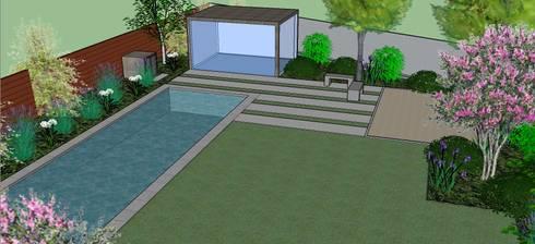 Detalle 3D de piscina y gimnasio requerido por clientes: Jardines de estilo moderno por Aliwen Paisajismo