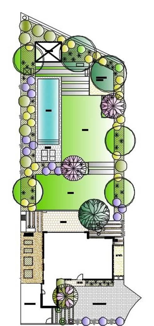 Plano Autocad a color. : Jardines de estilo moderno por Aliwen Paisajismo