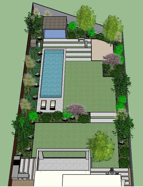 Imagen 3D, vista general patio posterior: Jardines de estilo moderno por Aliwen Paisajismo