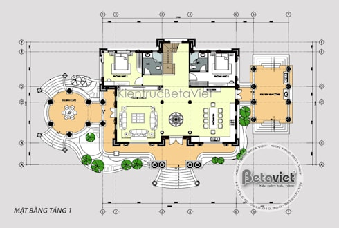Mặt bằng tầng 1 mẫu lâu đài dinh thự đẹp Tân cổ điển đẹp lung linh (CĐT: Ông Nguyện - Phú Thọ) KT17115:   by Công Ty CP Kiến Trúc và Xây Dựng Betaviet