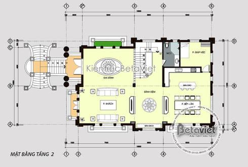 Mặt bằng tầng 2 mẫu lâu đài dinh thự đẹp 3 tầng kiểu Pháp nguy nga tráng lệ (CĐT: Ông Tuấn - Lạng Sơn) KT18003:   by Công Ty CP Kiến Trúc và Xây Dựng Betaviet