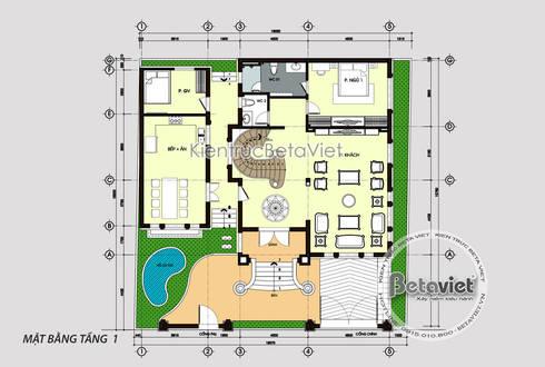 Mặt bằng tầng 1 mẫu biệt thự 3 tầng Tân cổ điển đẹp hoành tráng (CĐT: Ông Tuân - Thái Nguyên) KT18014:   by Công Ty CP Kiến Trúc và Xây Dựng Betaviet