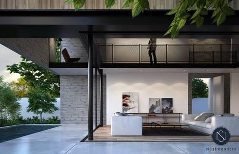 Residential render: modern Living room by Ns3drenders