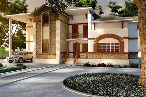 3D Exterior Visualization Services: modern Houses by ThePro3DStudio