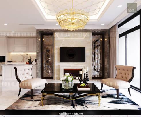 Thiết kế nội thất phong cách Tân Cổ Điển: Nội thất chất lượng – Cuộc sống đẳng cấp:  Phòng khách by ICON INTERIOR