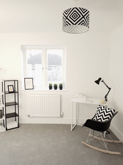 Botanical Monochrome Show Home:  Study/office by THE FRESH INTERIOR COMPANY
