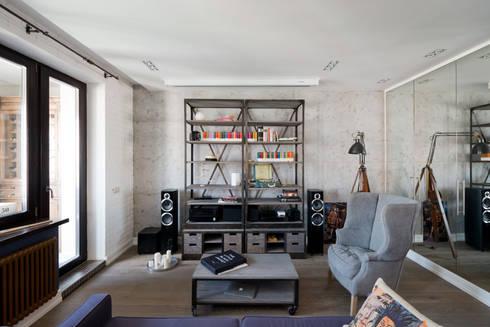 modern Living room by Архитектурная мастерская ПРОЕКТУС