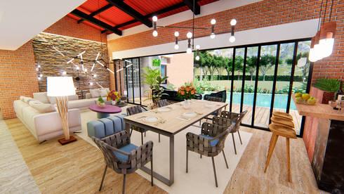 Casa Villa Real: Salas multimedia de estilo moderno por Conceptual Studio ARQUITECTUR