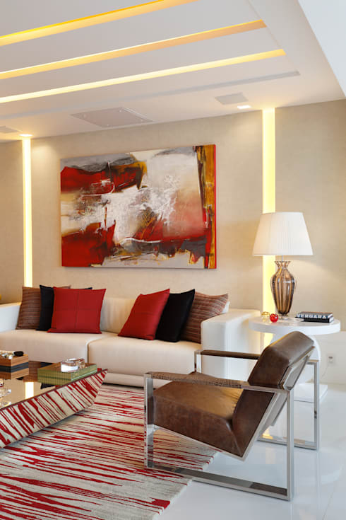 Riserva Uno: Salas de estar  por Patrícia Netto Arquitetura & Design