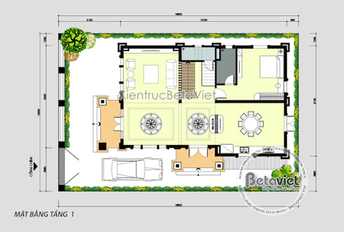 Mặt bằng tầng 1 mẫu thiết kế biệt thự đẹp 3 tầng Tân cổ điển (CĐT: Ông Dũng - Bắc Ninh) KT18033:   by Công Ty CP Kiến Trúc và Xây Dựng Betaviet