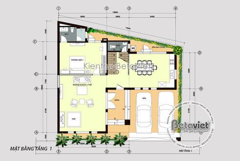 Mặt bằng tầng 1 mẫu thiết kế biệt thự mái bằng 3 tầng Hiện đại đẹp (CĐT: Ông Long - Vĩnh Phúc) KT18037:   by Công Ty CP Kiến Trúc và Xây Dựng Betaviet
