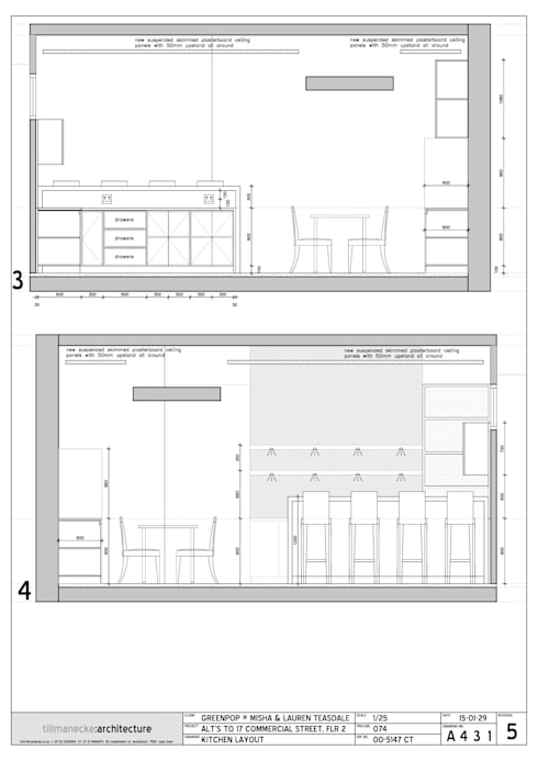 kitchen elevation drawings: modern Kitchen by Till Manecke:Architect