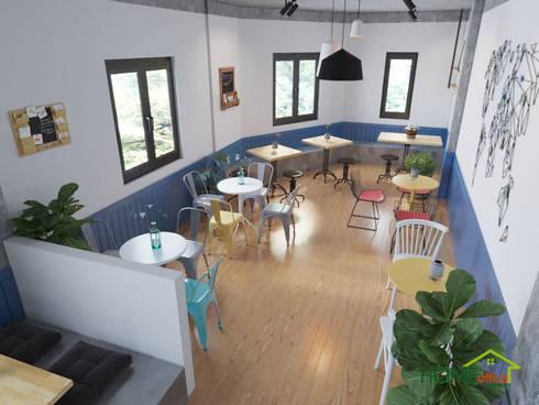 Không gian quán trà sữa đẹp với diện tích 80m2:  Cầu thang by Home Office