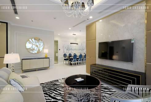 Phong cách Tân Cổ Điển trong thiết kế nội thất căn hộ Vinhomes Central Park:  Phòng khách by ICON INTERIOR
