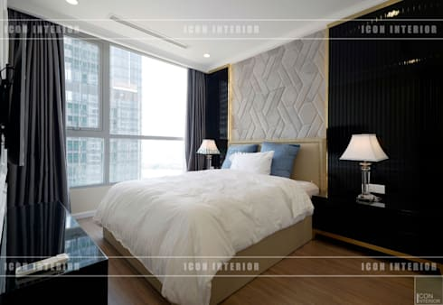 Phong cách Tân Cổ Điển trong thiết kế nội thất căn hộ Vinhomes Central Park:  Phòng ngủ by ICON INTERIOR