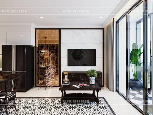 Thiết kế căn hộ Vinhomes Golden River - Phong cách thiết kế mang tiếng vọng xưa:  Phòng khách by ICON INTERIOR