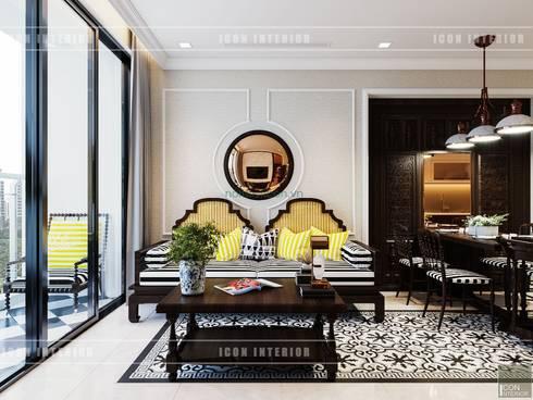 Thiết kế căn hộ Vinhomes Golden River – Phong cách thiết kế mang tiếng vọng xưa:  Phòng khách by ICON INTERIOR