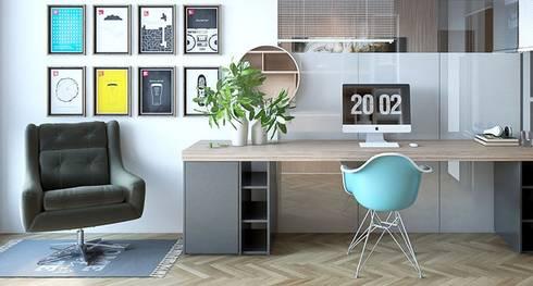 Bàn làm việc hiện đại được đặt tại nhà:   by Thương hiệu Nội Thất Hoàn Mỹ