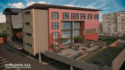 Centro Empresarial del Norte del Valle de Aburrá (CENVA): Edificios de oficinas de estilo  por PLUMA DIGITAL SAS.