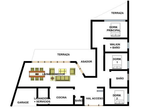 Proyecto Casa (Tipo L) 150m2: Casas de madera de estilo  por Constructora Rukalihuen
