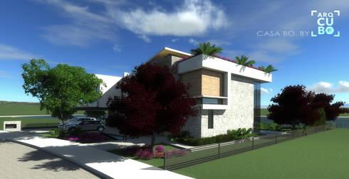 FACHA LATERAL: Casas de estilo moderno por ArqCubo